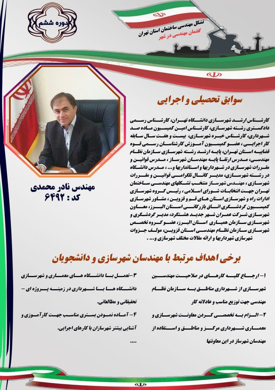 مهندس نادر محمدی کد 6492 دوره ششم انتخابات شورای اسلامی شهر تهران برای شهرسازان